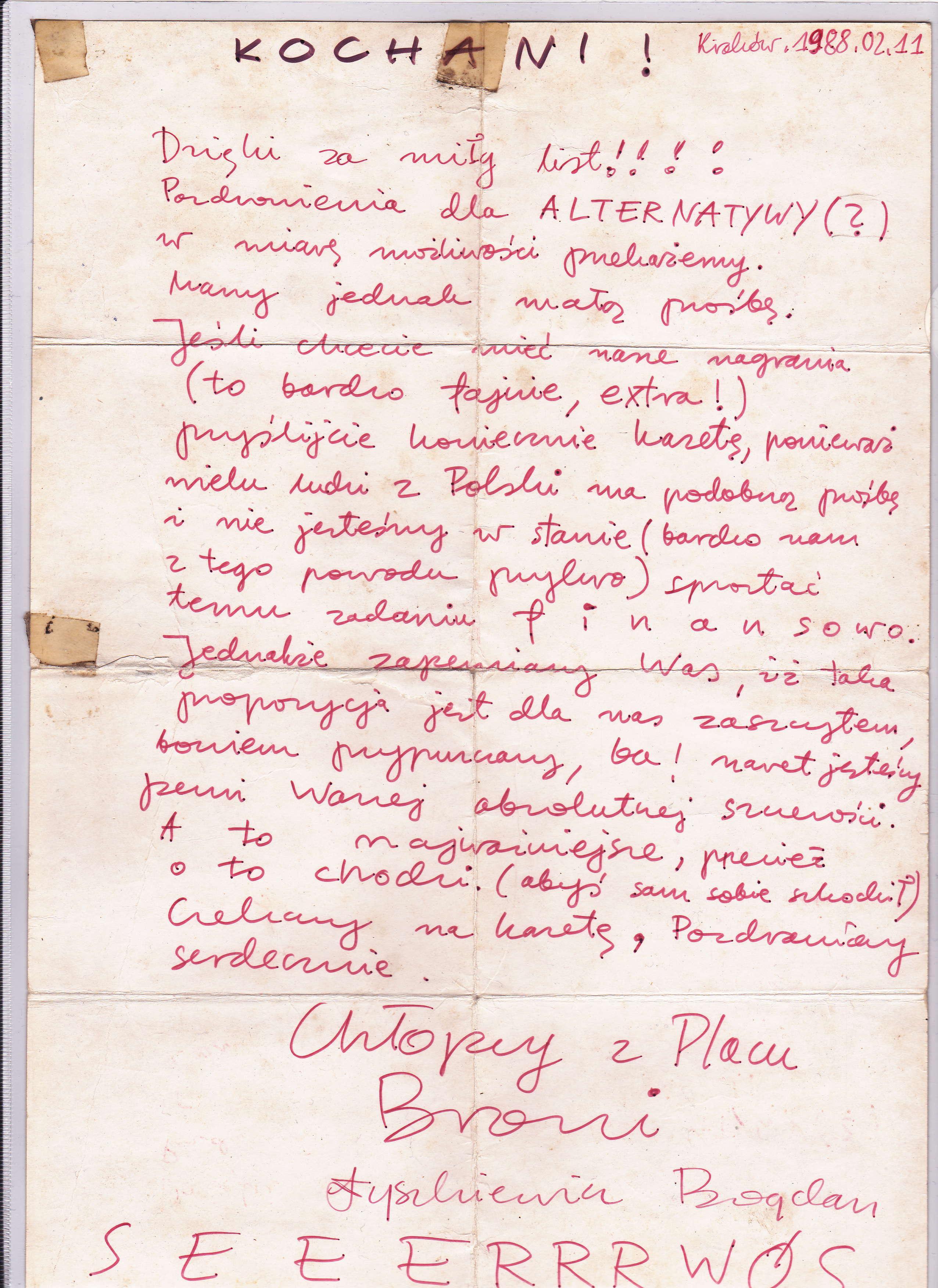 Nowy eksponat: list Bogdana Łyszkiewicza