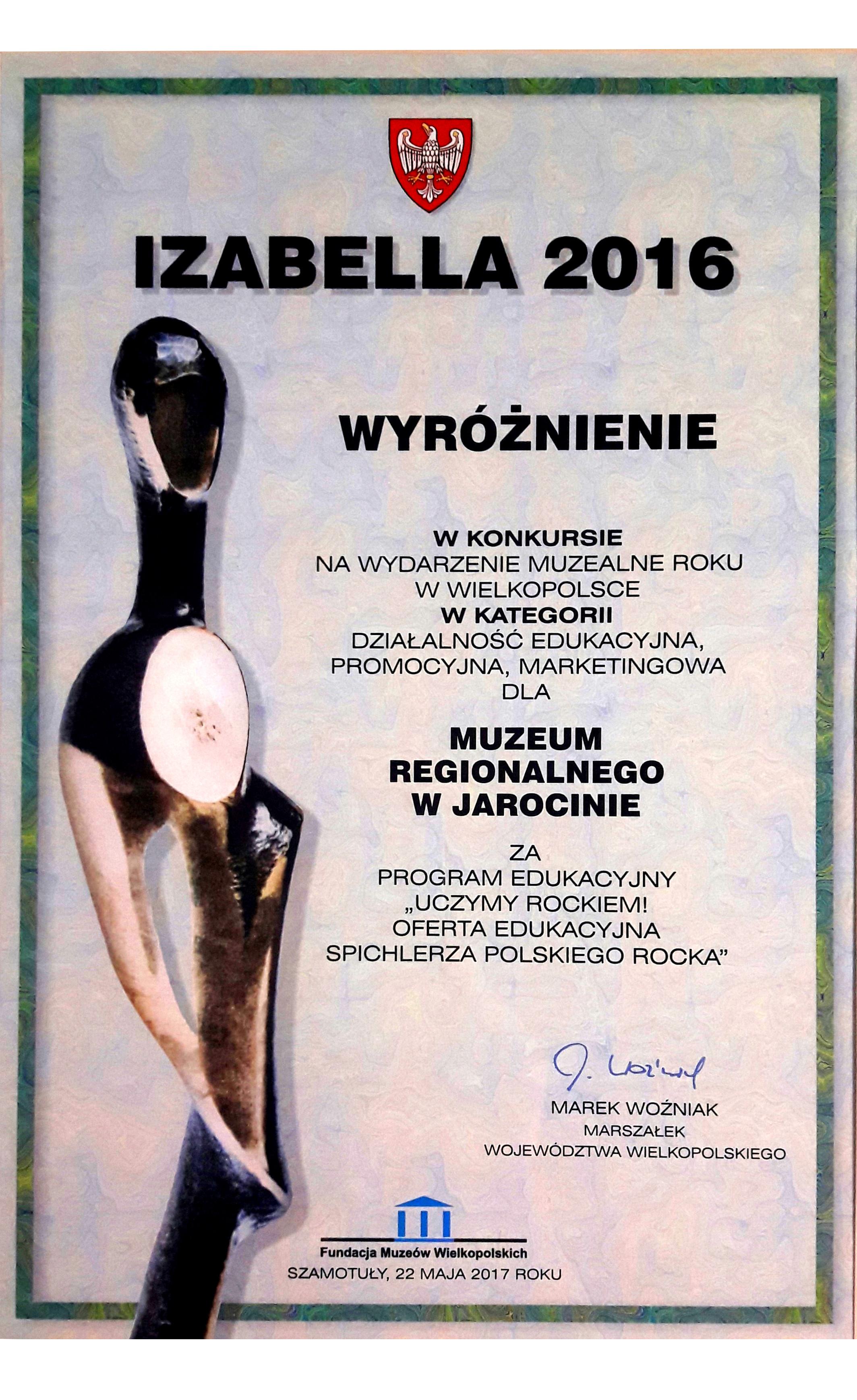 """Spichlerz Polskiego Rocka wyróżniony w prestiżowym konkursie muzealnym """"Izabella 2016""""!"""