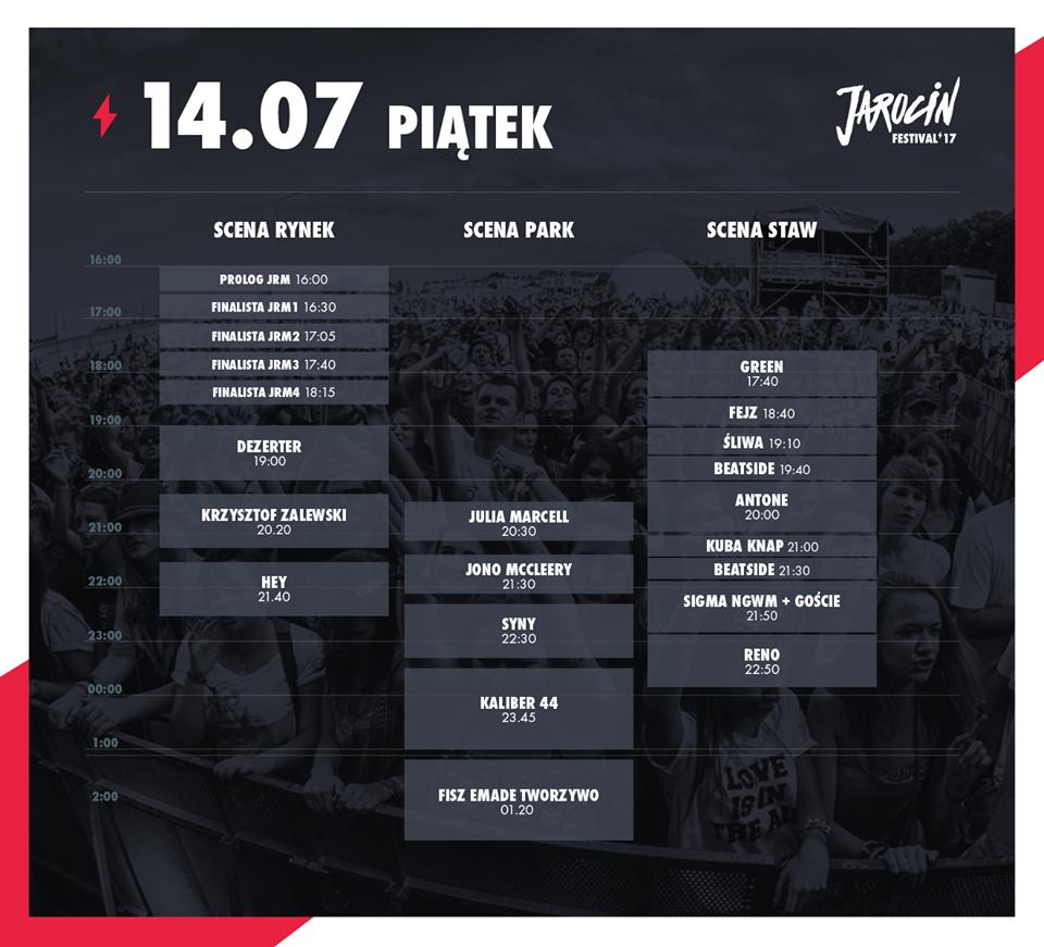 Znamy miejsca i godziny koncertów podczas Jarocin Festiwal 2017!