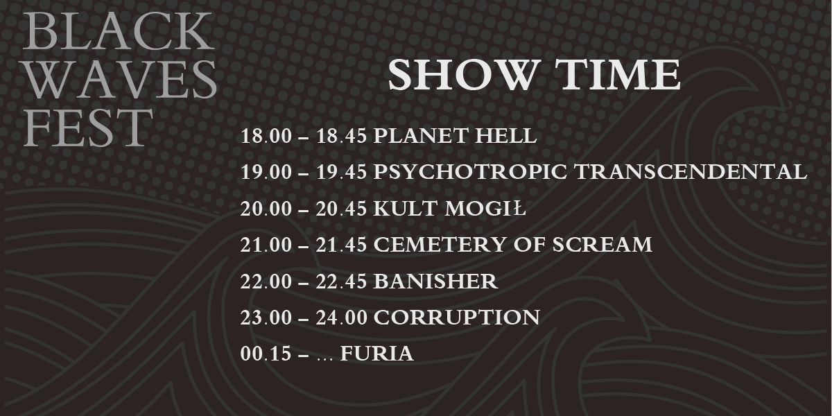 Za 12 dni (13.10.2018 r.) Black Waves Fest – znamy rozkład jazdy!