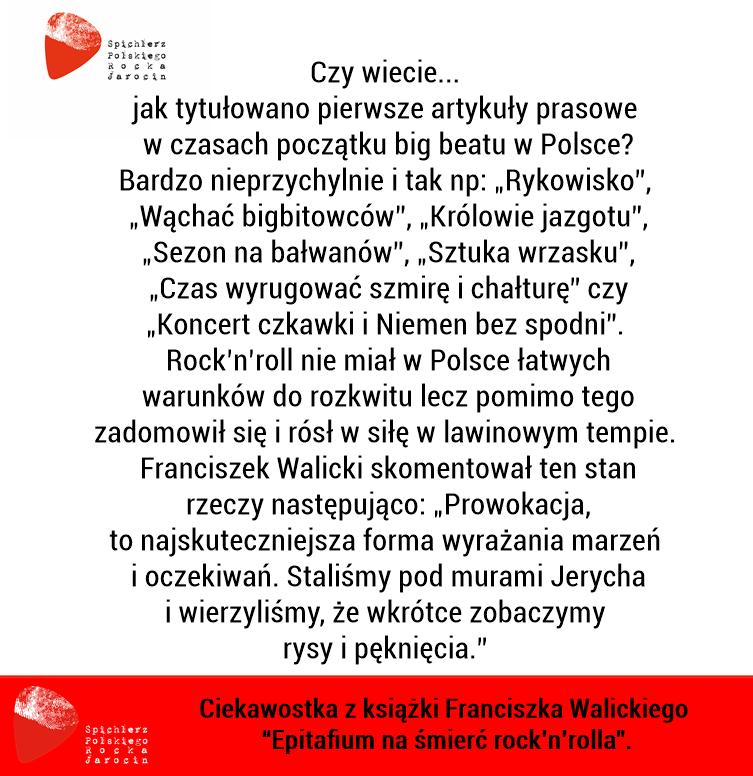 """Ciekawostki z książki Franciszka Walickiego """"Epitafium na śmierć rock'n'rolla""""."""