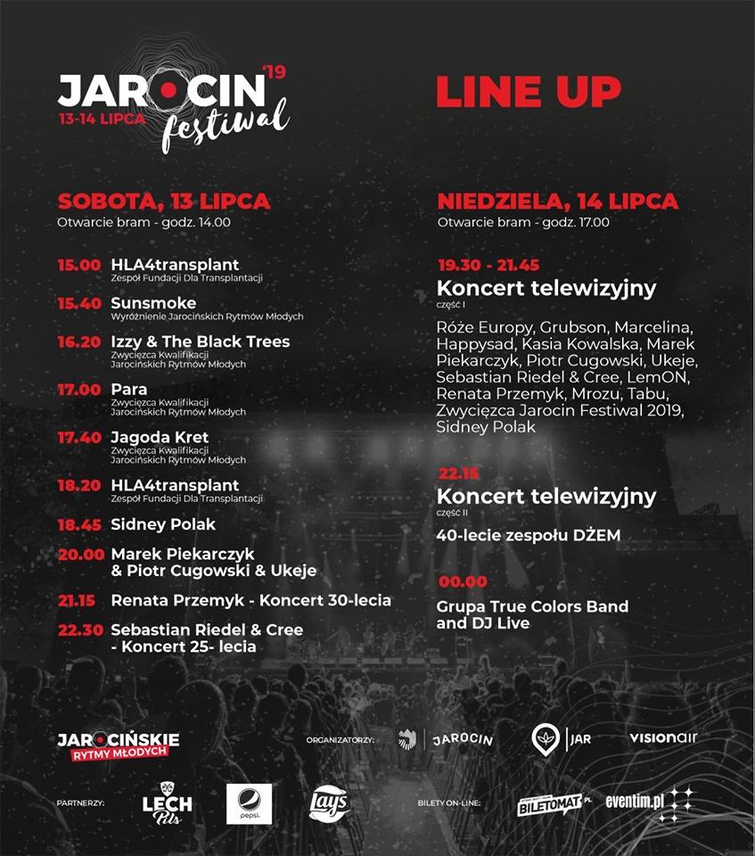 Line Up Jarocin Festiwal 2019