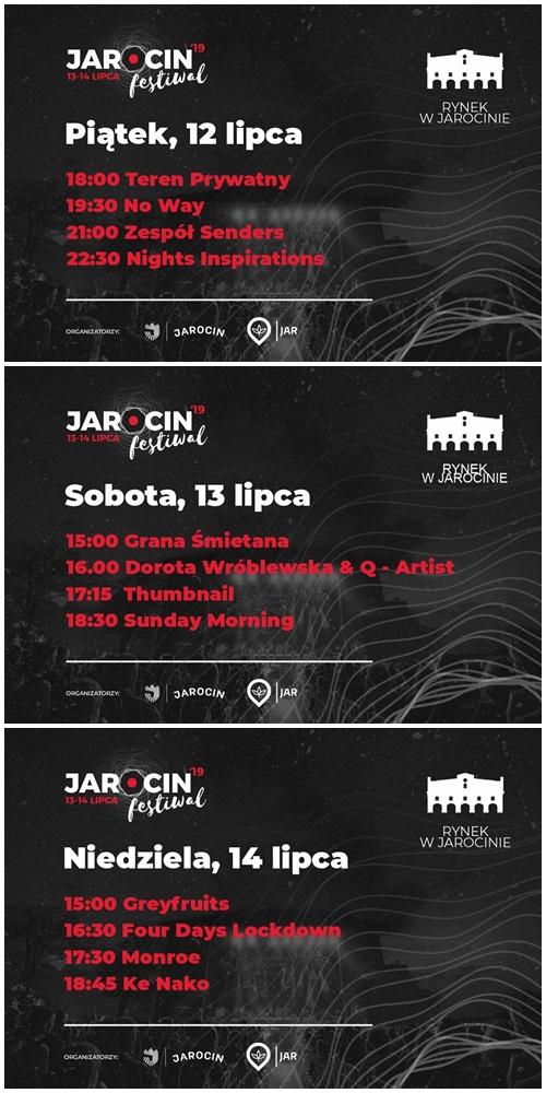 JF2019 – rozkład koncertów na festiwalowym rynku.