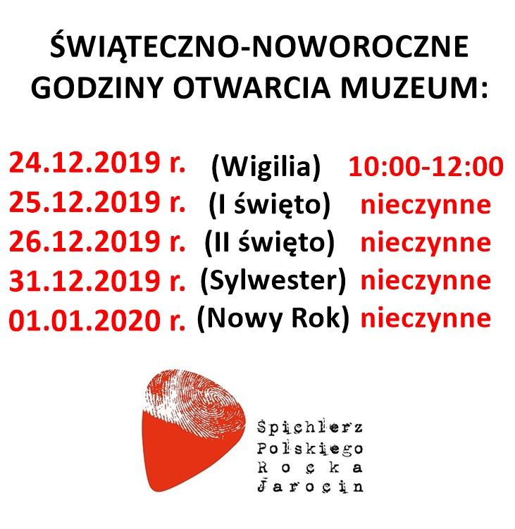 Świąteczno – noworoczne godziny otwarcia Muzeum.