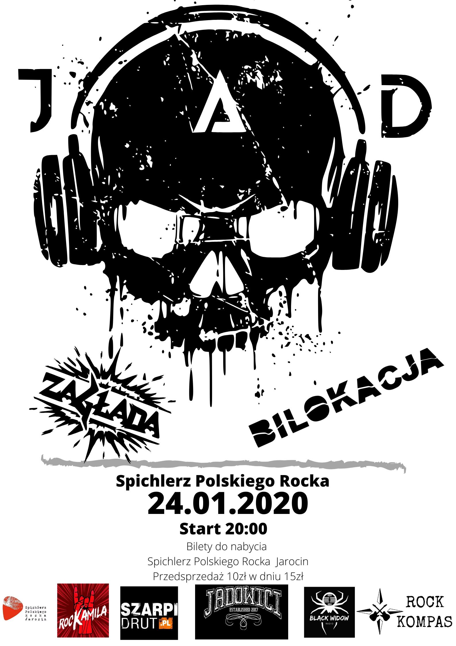 J.A.D, Zagłada, Bilokacja – koncert w Spichlerzu za 2 tygodnie (24.01.2020 r.). Zapraszamy!!!