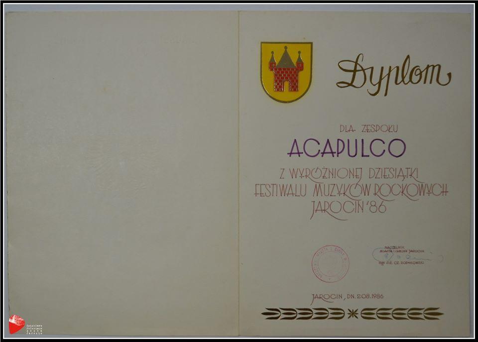 Dyplom dla zespołu Acapulco.