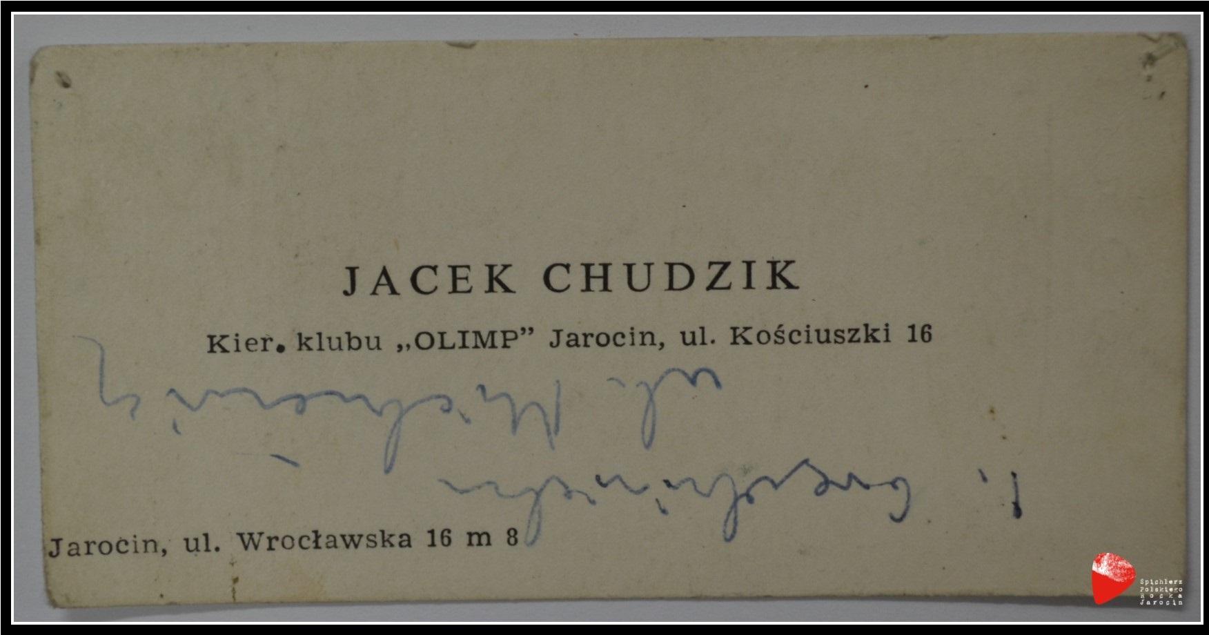 Wizytówka Jacka Chudzika.