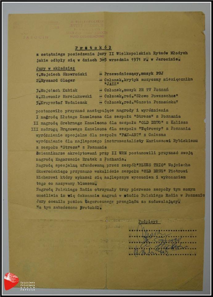 Protokół jury WRM'71.