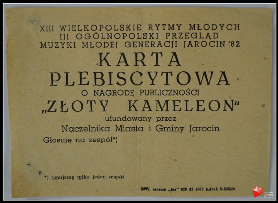 """Karta plebiscytowa o nagrodę publiczności """"Złoty Kameleon"""" z roku 1982."""