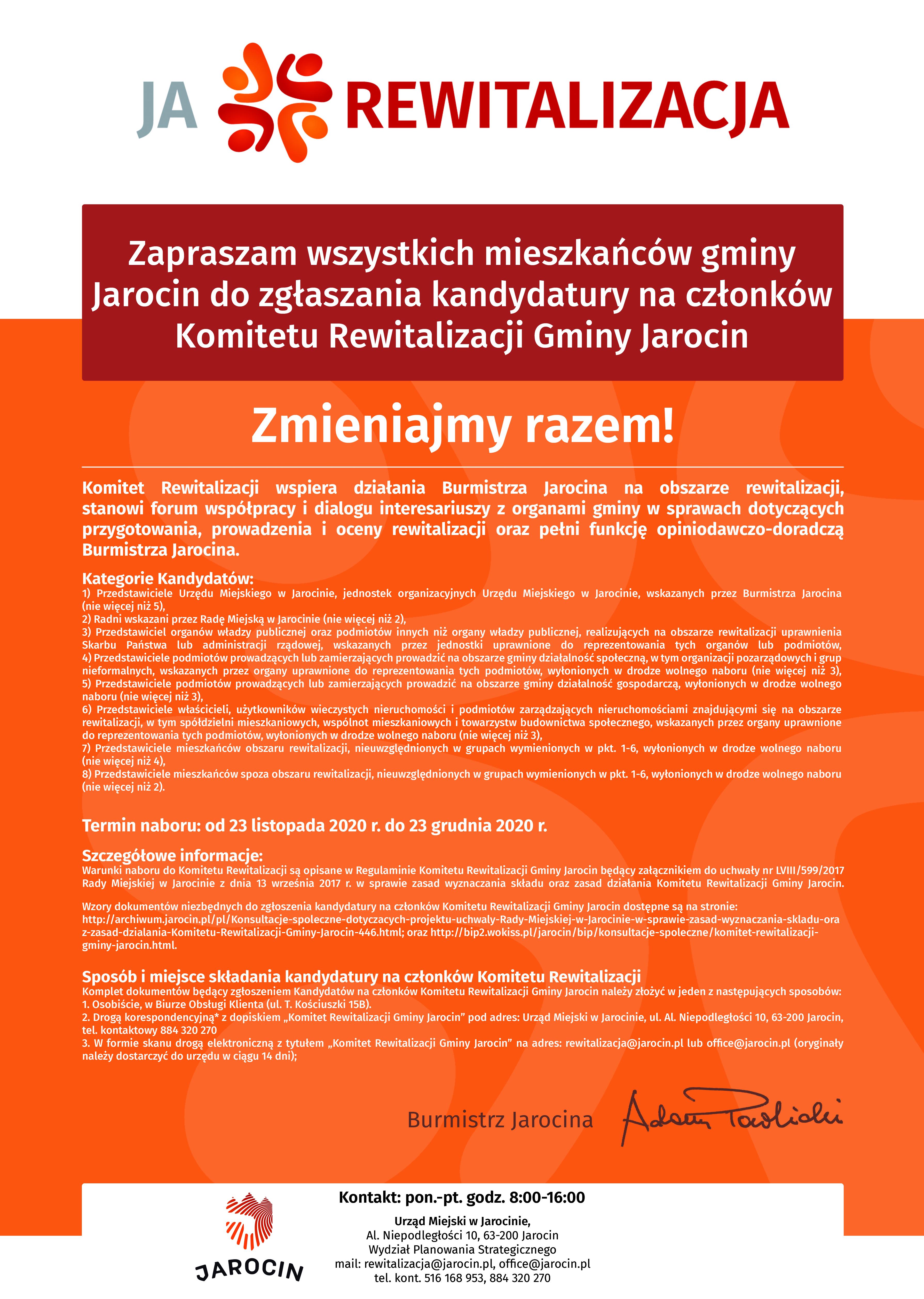 Ogłoszenie o naborze na nową kadencję Komitetu Rewitalizacji.