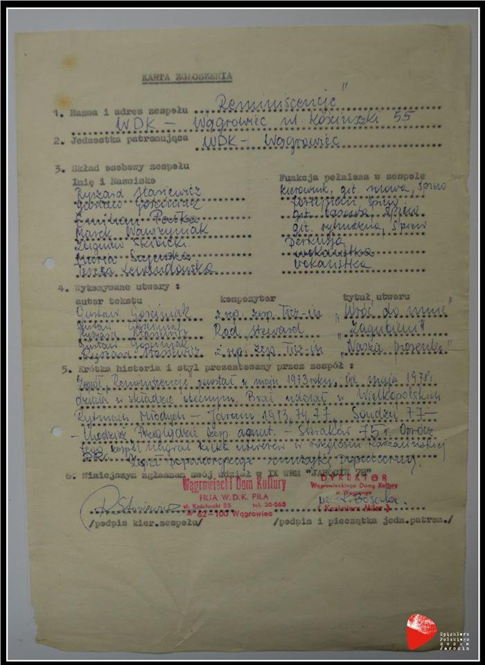 """Zgłoszenie zespołu """"Reminescencje"""" do udziału w IX Wielkopolskich Rytmach Młodych """"Jarocin'78""""."""