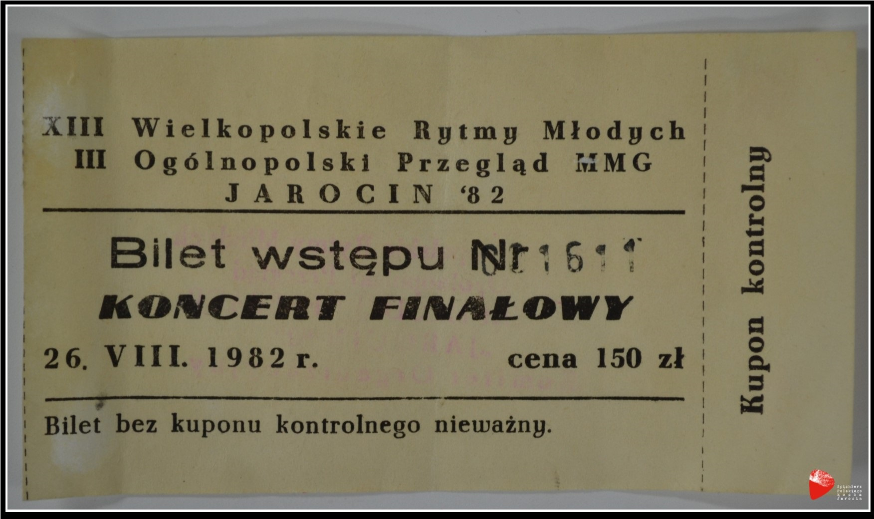 Bilet wstępu na koncert finałowy III Ogólnopolskiego Przeglądu Muzyki Młodej Generacji Jarocin'82.