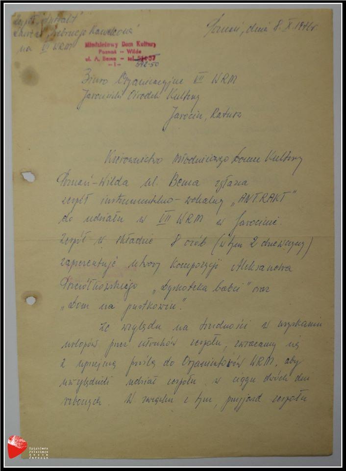 """Zgłoszenie zespołu """"Antrakt"""" do udziału w VII Wielkopolskich Rytmach Młodych."""