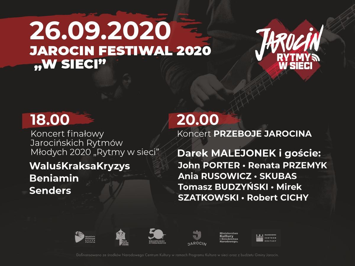 """Jarocin Festiwal 2020 """"w sieci"""" – tak prezentuje się rozkład jazdy."""