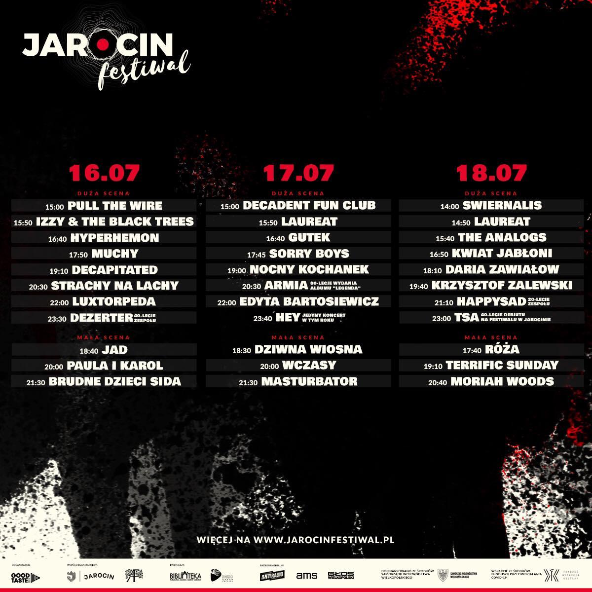 Jarocin Festiwal 2021 – znamy rozpiskę godzinową.
