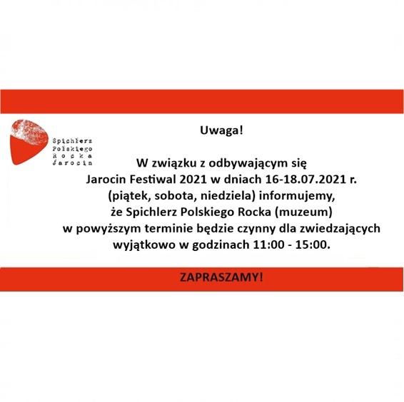 Zmiana godzin otwarcia muzeum podczas Jarocin Festiwal 2021!